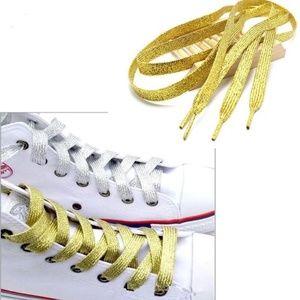 Gold Metallic Glitter Flat Shoelaces Sneakers Lace